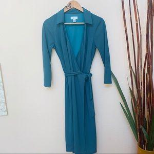 Ann Taylor Loft Teal Wrap Dress, Sz 6